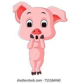 Vector illustration of cute baby pig cartoon