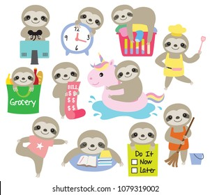 Vector illustration of cute baby sloth with activities such as cooking, cleaning, gaming, studying, doing laundry, etc.