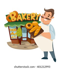 Vector illustration of a cute baker standing near a bakery. Bakery shop. Exterior design.