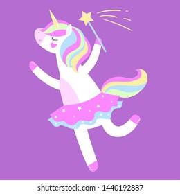 Vector illustration. Cute ballerina unicorn