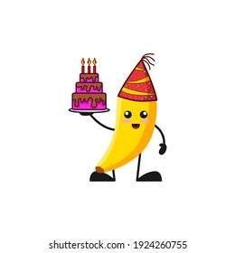 vector illustration of cute banana fruit birthday or character holding cake. cute banana fruit Concept White Isolated. Flat Cartoon Style Suitable for Landing Page, Banner, Flyer, Sticker.