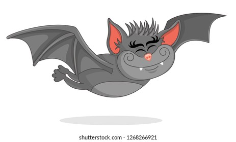 Vector Illustration of Cute Bat Cartoon  flies forward. Artwork with the theme of the flying bat halloween. Design for print, emblem, t-shirt, party decoration, sticker, logotype.