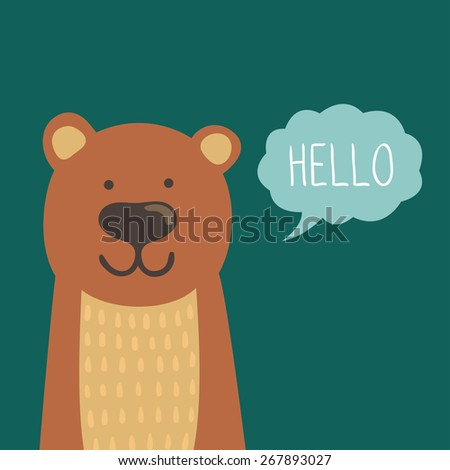 Immagine Vettoriale A Tema Vector Illustration Cute Bear Text Hello