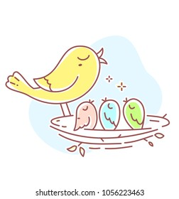 Vector illustration of cute bird family. Father bird and three baby birds sitting in the nest on white background. Flat line art style bird for print, web, site, gift romantic banner, greeting card