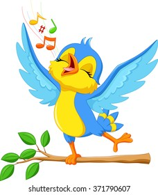 Vector illustration of cute bird singing