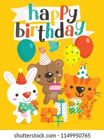 Vector illustration of cute birthday bunny, bear, and cat