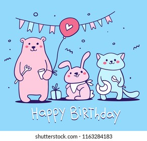 Vector illustration of a cute birthday card with happy animal with fork, cup, plate, spoon, air balloon, flag garland, present and text on blue background. Hand drawn flat line art style for card