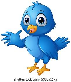 Vector illustration of Cute blue bird cartoon