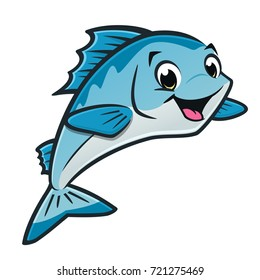 Vector illustration of a cute blue fish for design element