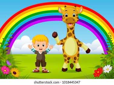 vector illustration of cute boy and giraffe at park with rainbow scene