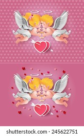 Vector illustration of cute boy and girl cupids. paper art style.