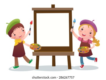 A vector illustration of cute boy and girl with painting canvas