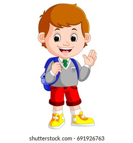 vector illustration of Cute boy on his way to school