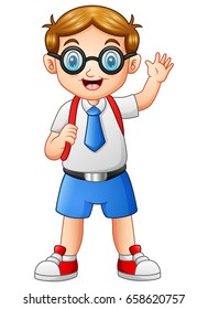 Vector illustration of Cute boy in a school uniform waving hand