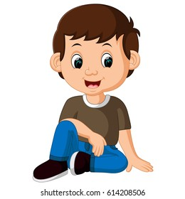 vector illustration of cute boy sitting on the floor