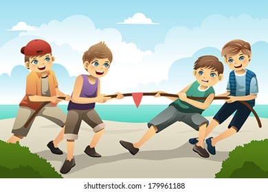 A vector illustration of cute boys playing tug of war