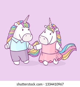 Vector illustration with cute bright couple unicorns  in love together isolated on background