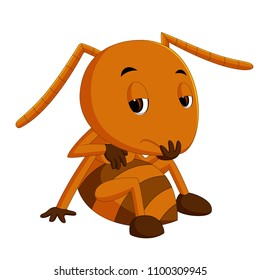 vector illustration of cute brown ant sadness