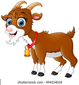 Vector illustration of  Cute brown goat cartoon