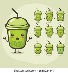 vector illustration of cute bubble tea mascot or character