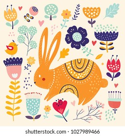 Vector illustration with cute bunny and beautiful flowers. Easter greeting card.