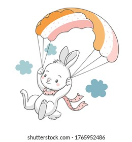 Vector illustration of a cute bunny flying with a parachute.
