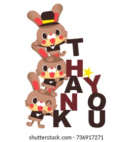 Vector illustration of cute bunny, rabbit characters in tuxedo suit with message Thank you isolated on white background.