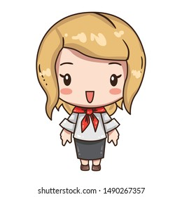 Vector illustration of cute business girl, secretary or teacher in formal clothes. Kawaii chibi character isolated on white background. Cartoon girl in black skirt, white blouse and red neckscarf.