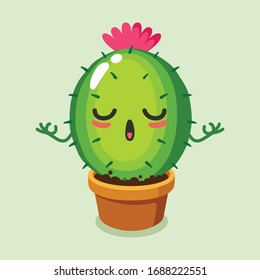 vector illustration of cute cactus mascot or character