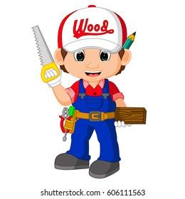 vector illustration of cute carpenter cartoon