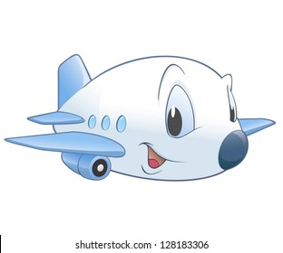 Vector illustration of a cute cartoon airplane. No radial gradient / transparency / gradient mesh.