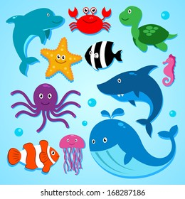 Vector illustration of cute cartoon  animals from the sea, including Dolphin, clown fish, shark, whale and others. Vector EPS