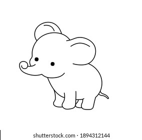 Vector illustration cute cartoon baby elephant. Contour colorless black outline drawing of small elephant for tattoo, print, pattern, children coloring page.