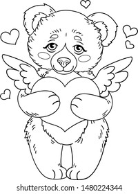 Vector illustration of cute cartoon bear holding winged stylized heart simbol of love. Isolated outline for coloring book