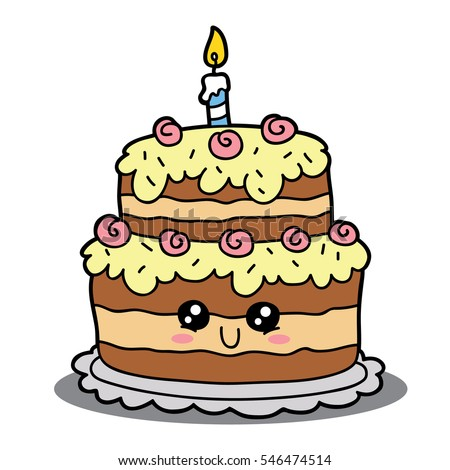 Vector Illustration Of Cute Cartoon Birthday Cake Character For Children And Scrap Book
