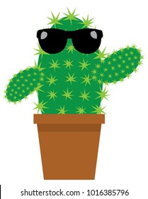 vector illustration of a cute cartoon cactus in black sunglasses in a pot isolated on white background