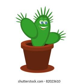 Vector illustration of cute cartoon cactus