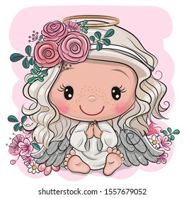 Vector illustration of Cute Cartoon Christmas angel with flowers