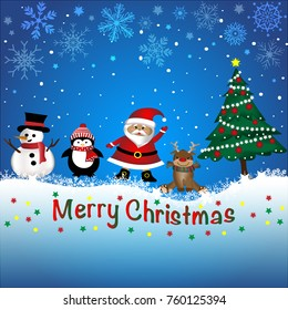 Vector and illustration of cute cartoon Christmas firends, santa claus, snowman, reindeer, penguin and Christmas tree on snow with blue sky and snowfall background