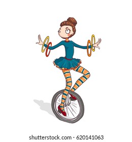 Vector Illustration of a cute cartoon Circus girl Performer Riding Unicycle.