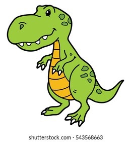 Vector illustration of cute cartoon dino character for children and scrap book