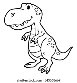Vector illustration of cute cartoon dinosaur character for children, coloring