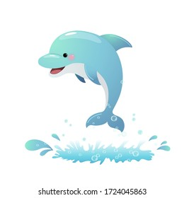 Vector illustration cute cartoon dolphin jumping out of the sea.