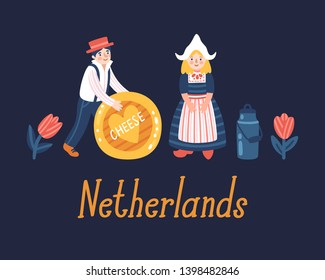 "Vector illustration of cute cartoon Dutch people in tradirional costume, cheese, milk, tulips and text ""Netherlands""."