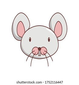 Vector illustration of a cute cartoon rat's face. Isolated on white background. Cute  animal set