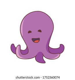 Vector illustration of a cute cartoon friendly octopus. Isolated on white background. Cute  animal set