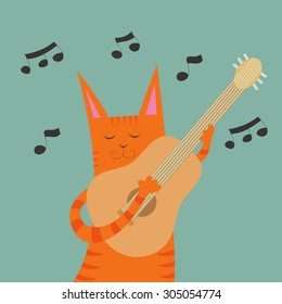 Vector illustration with cute cartoon funny cat with guitar