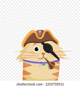 Vector illustration of cute cartoon ginger male pirate cat boy character portrait in pirates hat and eye bandage with smoke pipe isolated on transparent background clip art.