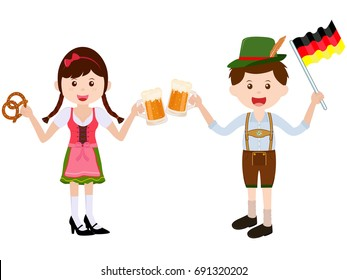 Vector illustration of cute cartoon girl wearing German Dirndl dress, boy with leather Lederhosen during Oktoberfest festival