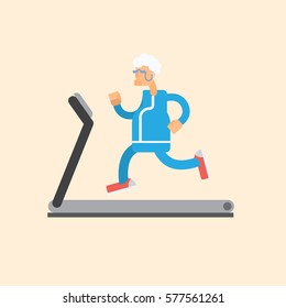 Vector illustration cute cartoon grandmather running on treadmill. Sporty old woman on training apparatus running track. Isolated white background. Flat style. old woman on a treadmill